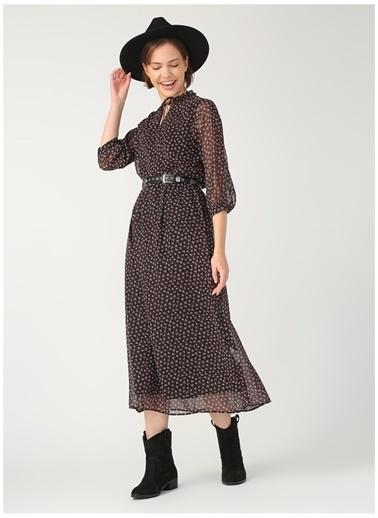 Limon Company Flora Çiçekli Polyester Uzun Kollu Kadın Elbise Siyah